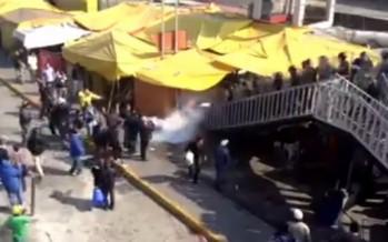 Trifulca entre simpatizantes de Morena y granaderos en el Cerco a San Lázaro