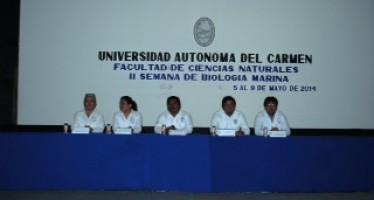 Inauguran autoridades universitarias la Segunda Semana de Biología Marina.
