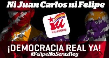Twiteros se pronuncian en rechazo a la monarquía española y llaman a concentraciones en plazas públicas.