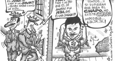 """El tema del """"Chapo"""" Guzmán visto bajo el humor del caricaturista Luis Xavier."""
