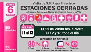 Estaciones cerradas-Linea 6-visita del Papa