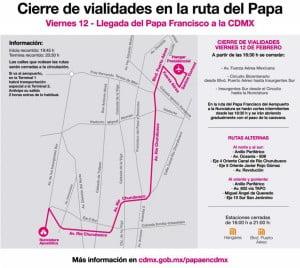 Ruta papal de viernes 12 de febrero 2016