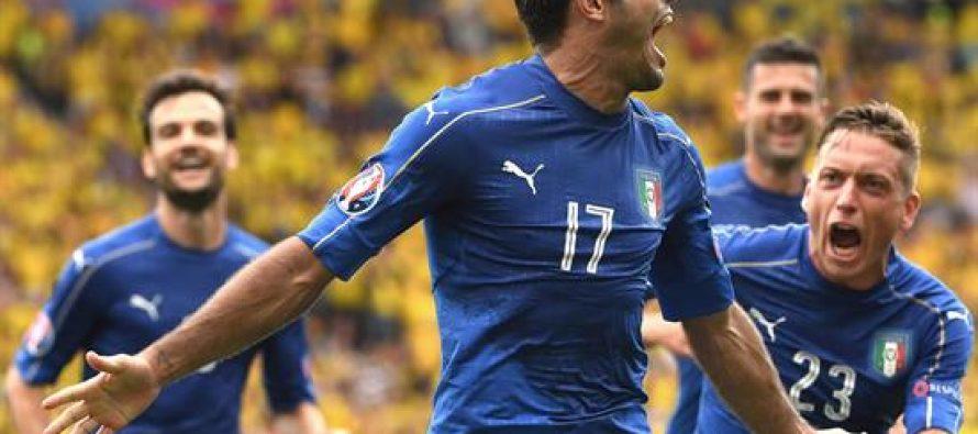 Italia gana 1-0 a Suecia en la Eurocopa