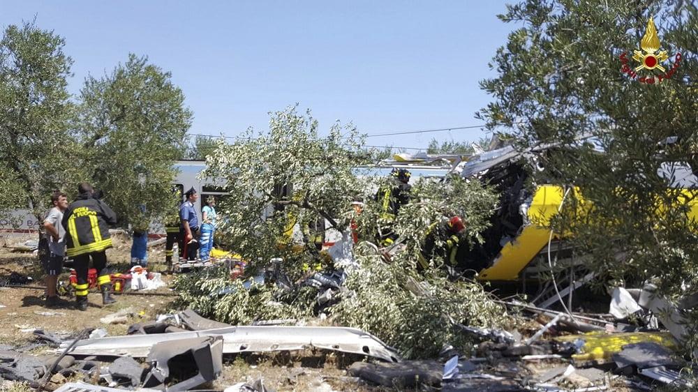 """""""Como si se hubiera caído un avión"""", calificó el alcalde de Corato el desastre del fatal accidente. Fotos del Departamento de Bomberos de Italia."""