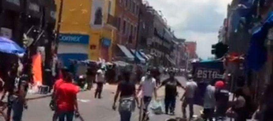 Se registra balacera entre comerciantes y policía en la ciudad de Puebla