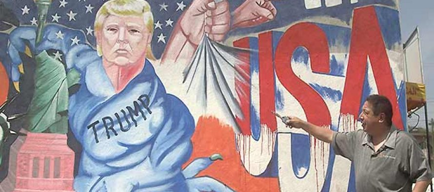Mural contra Trump en Tonatico, Estado de México