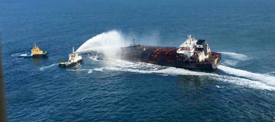 Controlan el fuego que había en el buque Burgos de Pemex