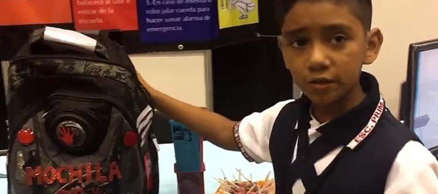 Niño crea mochila antibalas y de seguridad