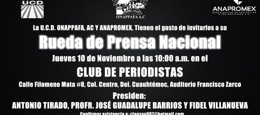 Invitación a conferencia de prensa en el Club de Periodistas