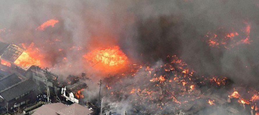 Incendio arrasa más de 140 casas en el noroeste de Japón