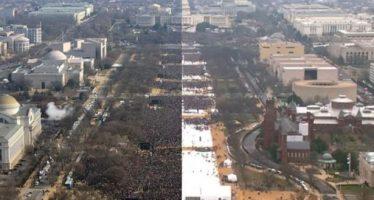 Publican imágenes comparativas de asistencia a investidura de Obama y de Trump