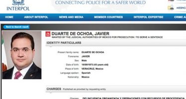 Interpol emite ficha roja para localizar a Javier Duarte en otros países