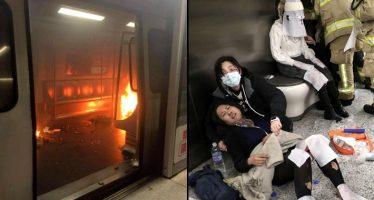 Hombre ataca con coctel molotov vagón de metro en Hong Kong, causando 15 heridos