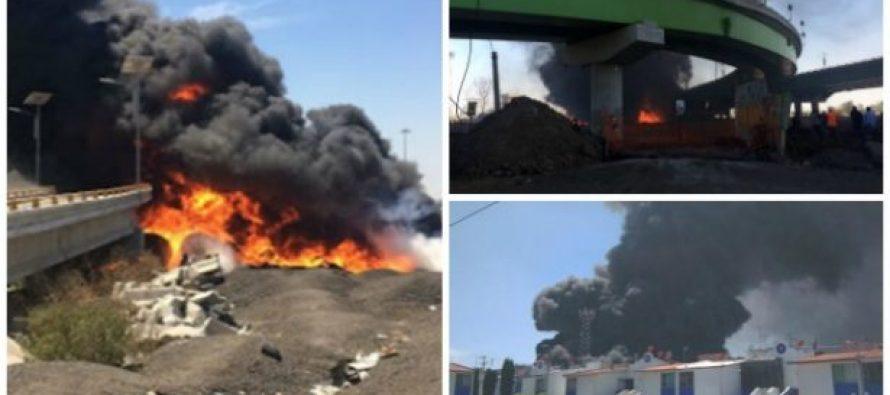 Aparatoso incendio alcanza el Circuito Exterior Mexiquense y Periférico