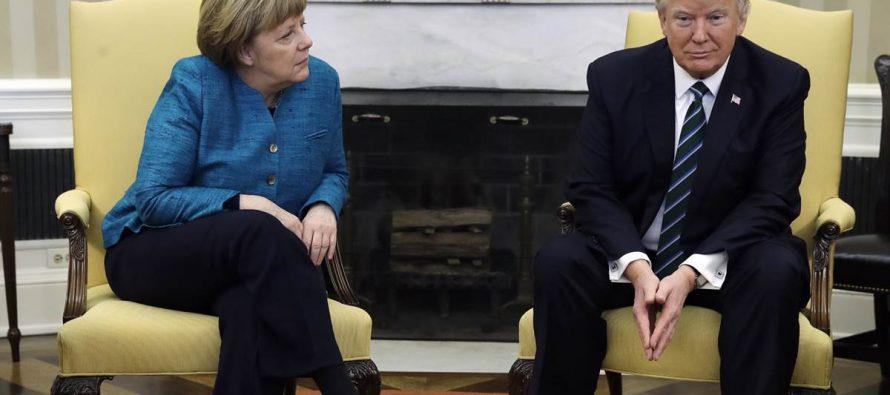 Desplanta Trump a Merkel al negarse a estrechar su mano; desacuerdo en muchos temas