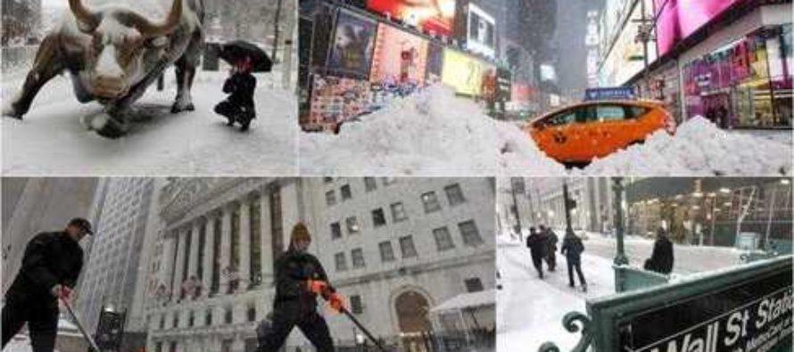Tormenta de nieve cubre Nueva York, pero tiene menor impacto de lo esperado