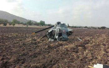 Helicóptero militar se desploma en Huehuetoca sin causar lesionados