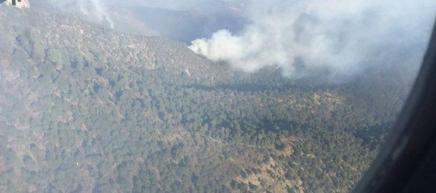 Fuera de control, incendio en zona de montaña de Texcoco