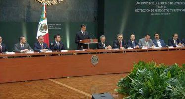 EPN anuncia serie de medidas para proteger a periodistas