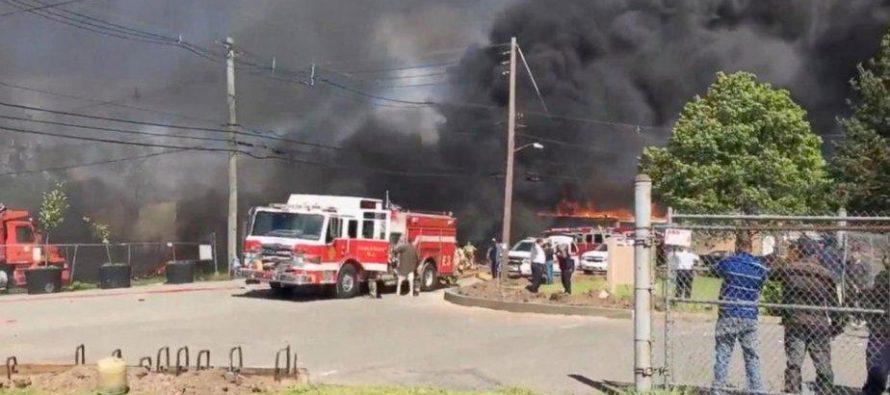 Avión ejecutivo se estrella en zona industrial de New Jersey causando dos muertos