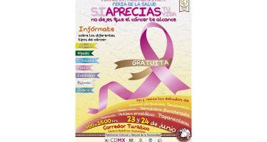 Feria de la Salud en Xochimilco invita a detectar varios tipos de cáncer para su tratamiento
