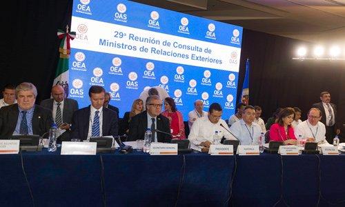 Aspecto de la reunión de la OEA en Cancún. Foto: Especial