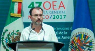 Videgaray, elegido presidente de la Asamblea General de la OEA; abordarán crisis de Venezuela