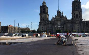 Casi 60% de la plancha del Zócalo tiene ya concreto hidráulico