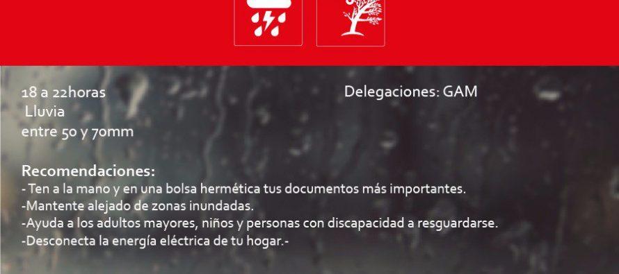 Emiten Alerta Roja para Gustavo A. Madero por lluvia
