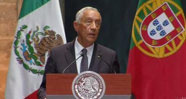 Presidente de Portugal es recibido en Palacio Nacional por EPN
