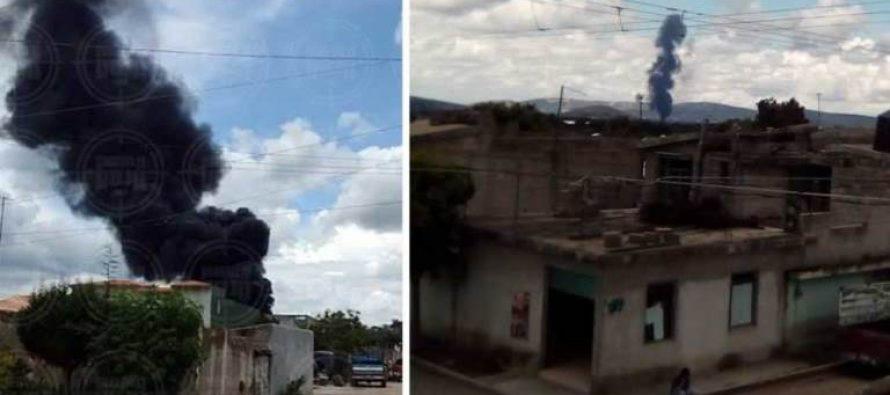 Bodega con huachicol explota en Puebla