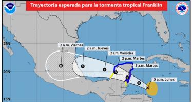Tormenta tropical Franklin se dirige a Península de Yucatán