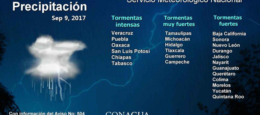 Se esperan tormentas en 24 estados del país