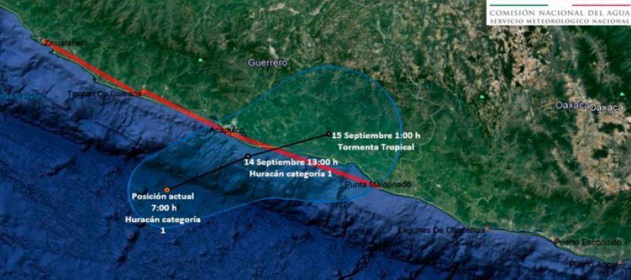 Max se intensificó a categoría 1 frente a costas de Guerrero