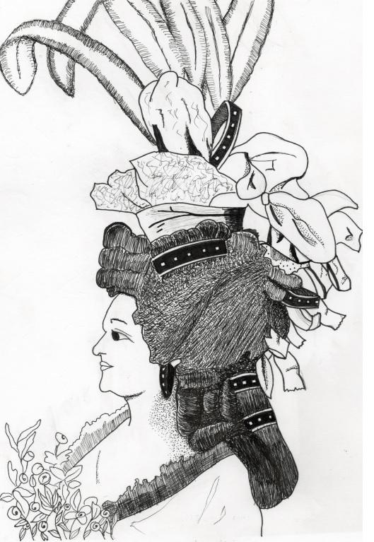 Retrato de María Antonieta, realizado con bolígrafo. Autora: Celeste Salloum y Sáenz de Miera