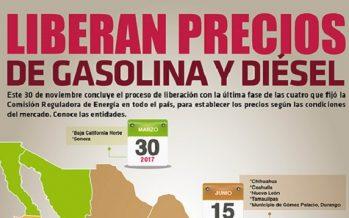 Liberan precios de gasolina y diésel