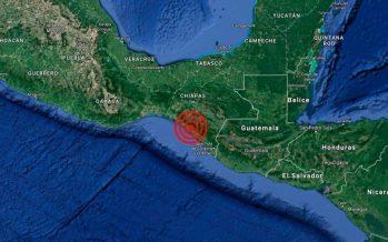 Ocurre sismo de 5.3 con epicentro en Ciudad Hidalgo, Chiapas