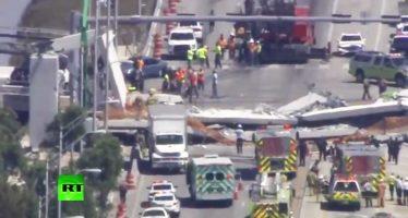 Cae puente peatonal en Florida; se reportan heridos