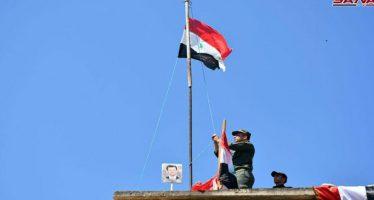 Izan bandera nacional en comisaría de policía de Herbenafseh