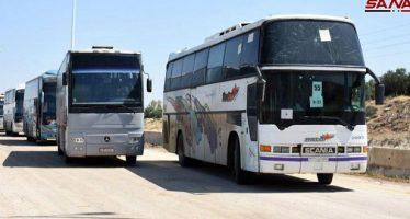 Llegan autobuses para sacar la tercer partida de terroristas