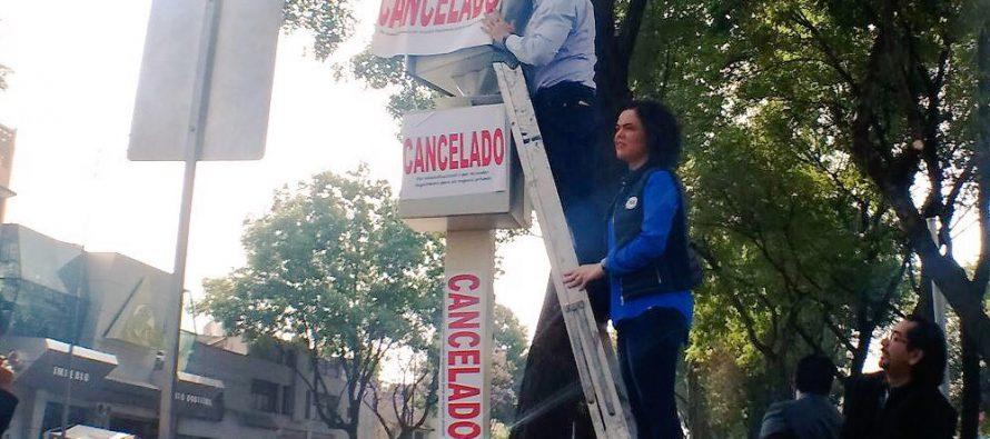 Cancelan simbólicamente cámaras de fotomultas, legisladores del PAN y del PRD