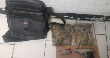 Detienen a sujeto por posesión de arma de fuego y marihuana