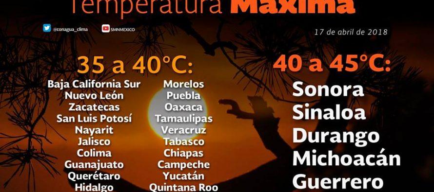 Temperaturas de hasta 45 grados en cinco estados del país
