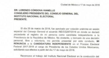 Aprovecha INE envío de notificación a Zavala para ratificar renuncia