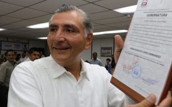 Adán López recibe constancia como gobernador electo de Tabasco