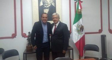 Cuauhtémoc Blanco dialoga con López Obrador sobre seguridad, en Morelos